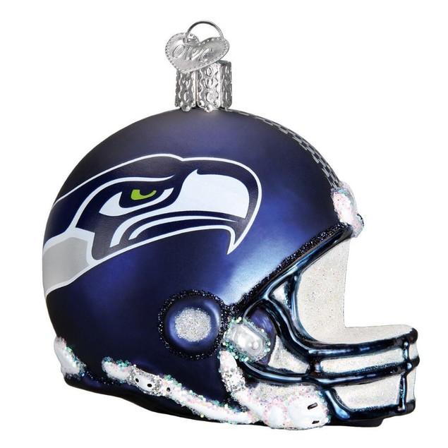Seattle Seahawks NFL Football Helmet Glass Ornament  Christmas Holiday Gift