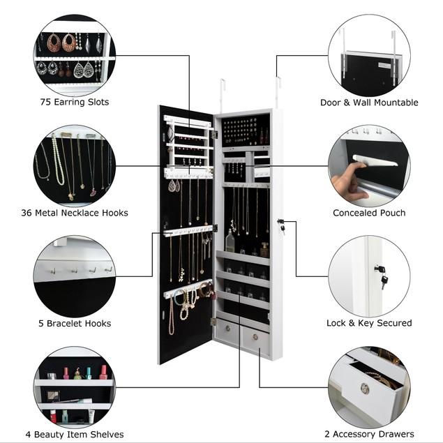 Dorothy Over-The-Door Jewelry Armoire Makeup Storage Organizer Vanity