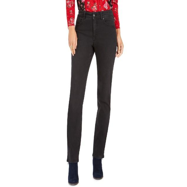 Style & Co Women's Tummy-Control Straight-Leg Jeans Black Smudge Size 16