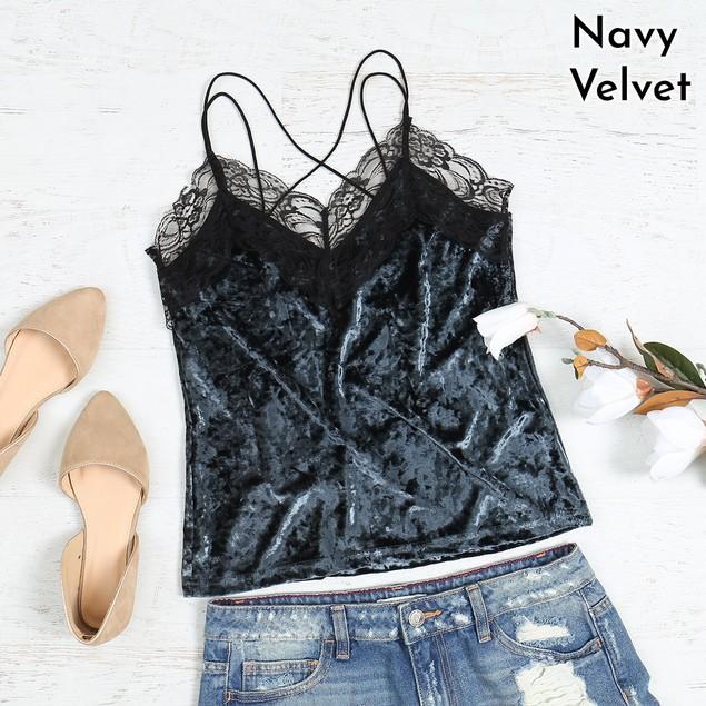 Strappy V-Neck Lace Trim Velvet Top   S-XL