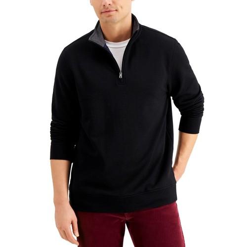 Club Room Men's Stretch 1/4-Zip Fleece Sweatshirt Black Size Large