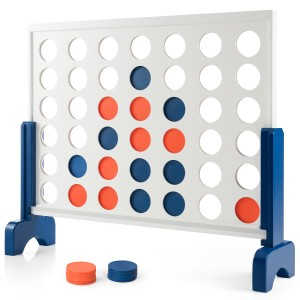 Costway Giant 4 In A Row Game Wood Board Connect Toy Adults Kids w/Carrying