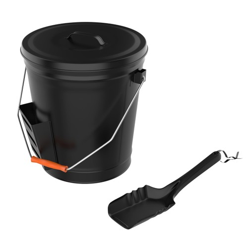 Metal Ash Bucket with Shovel for Fireplace 4.75 Gallons with Lid