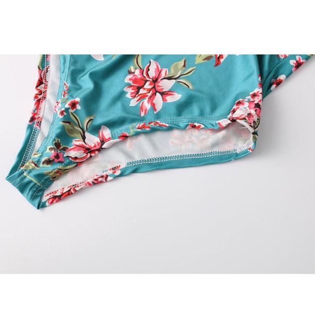 Women Jumpsuit Padded Push-up Bikini Floral Swimsuit Backless Swimwear