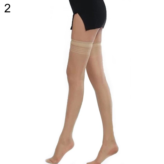 Lady Ultrathin Smooth Striped Top Nightclub Thigh Highs Stockings Hold-ups