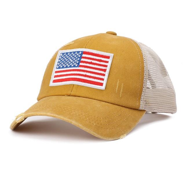 American Flag Embroidered Baseball Cap Ladies Ponytail Cap