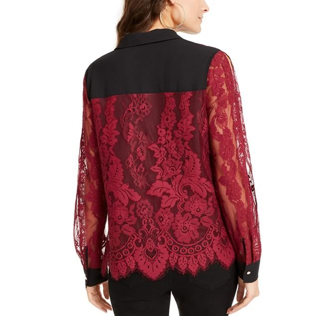 Thalia Sodi Women's Mixed-Media Button-Up Shirt Wine Size Small