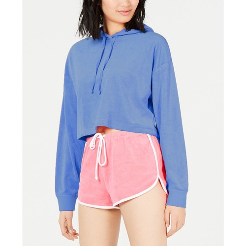 Juicy Couture Women's Cropped Terry Hoodie Blue Size Medium