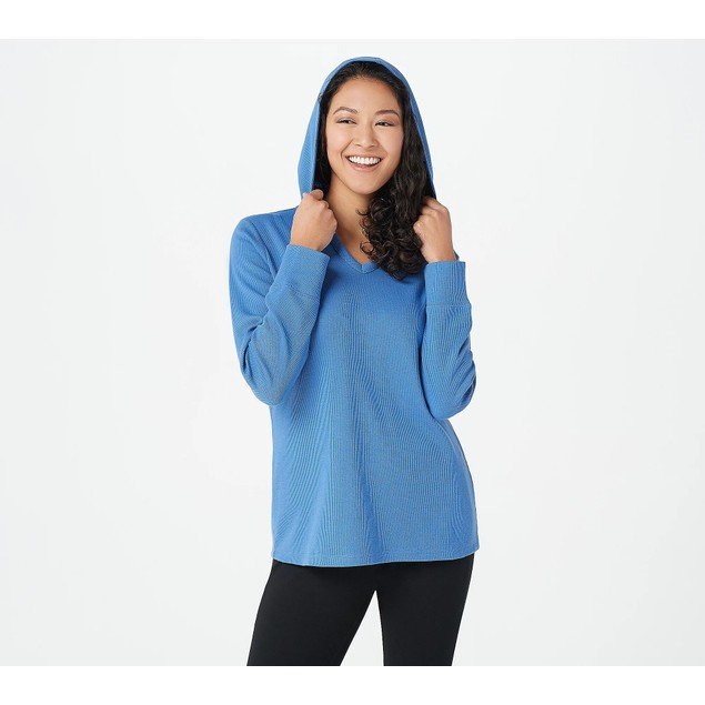 Denim & Co. Active Waffle Long Sleeve V-Neck Top with Hood, Large, Seaport