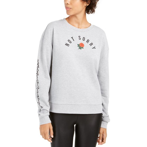 Mad Engine Juniors' Not Sorry Graphic Sweatshirt Grey Size Large