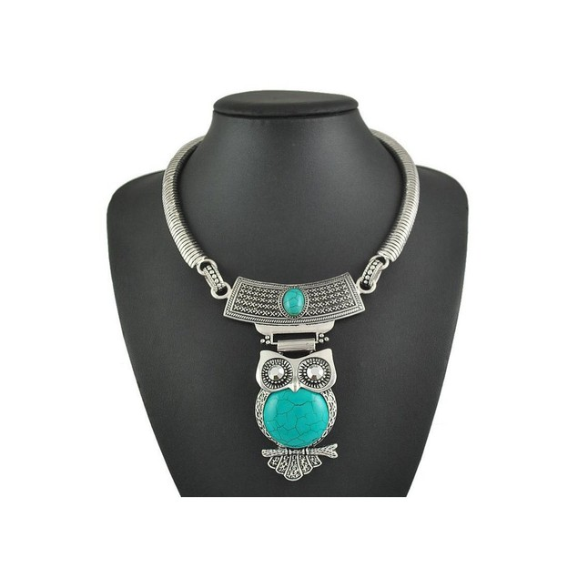Novadab Epic innate owl stone studded Collar Necklace