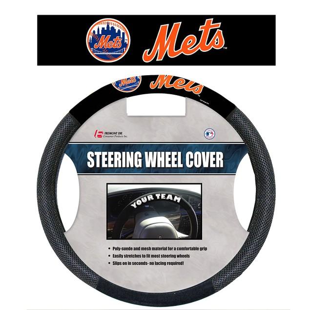 New York Mets Steering Wheel Cover MLB Baseball Team Logo Poly Mesh