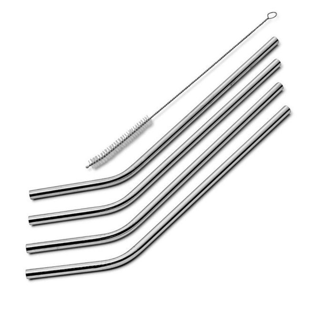 4-Pack Stainless Steel Drinking Straws + Cleaning Brush