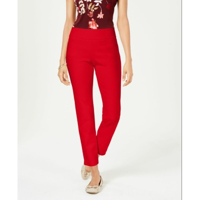 Charter Club Women's Petite Pull-On Ponte-Knit Pants Red Size 6P