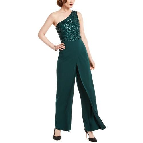 Adrianna Papell Women's Petite Beaded Crepe Jumpsuit Dark Green Size 4P
