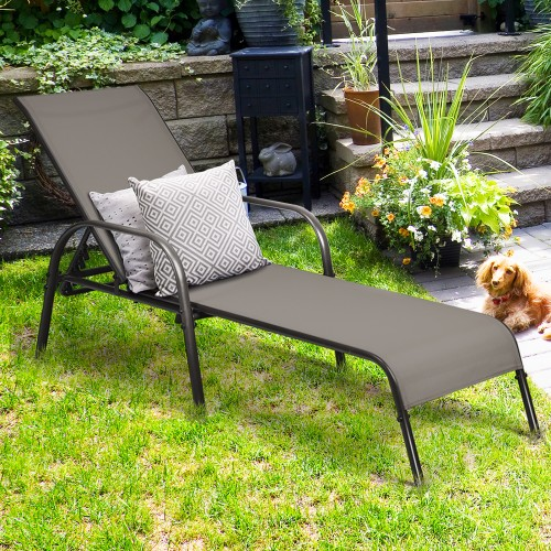 Costway Outdoor Patio Lounge Chair Chaise Fabric Adjustable Reclining Armre