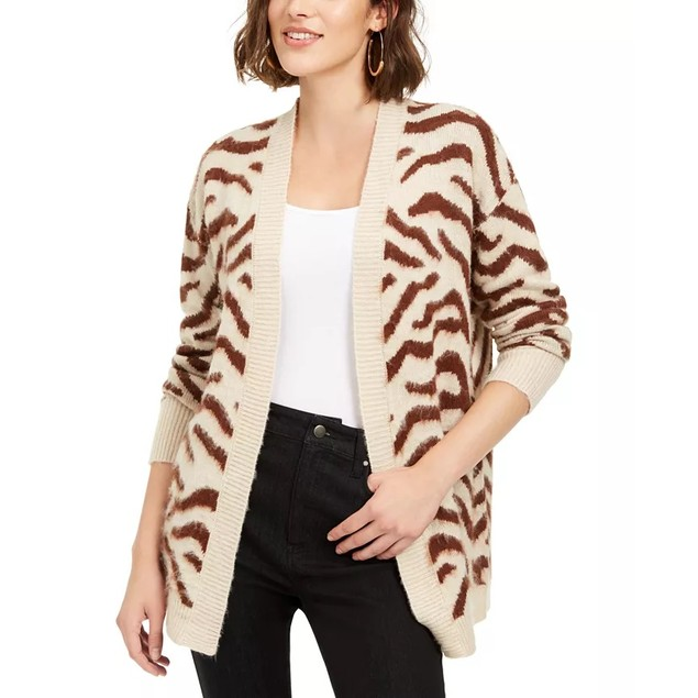 Hooked Up By Iot Juniors' Zebra Print Cardigan Brown Size Extra Small