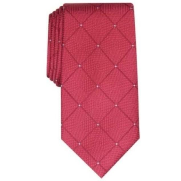 Perry Ellis Men's Burr Classic Geo Grid Tie Wine Size Regular