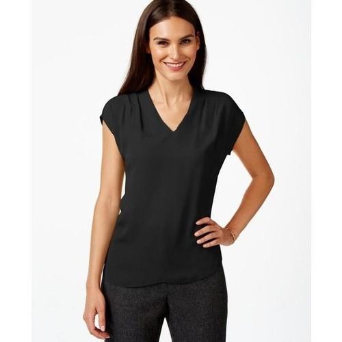 INC International Concepts Women's V-Neck Tunic Deep Black Size Small