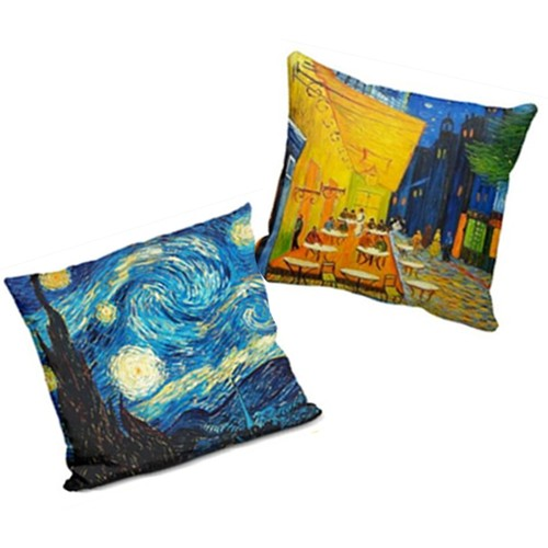 2-Pack Van Gogh Pillows Cases (Starry Night & Cafe Terrace)