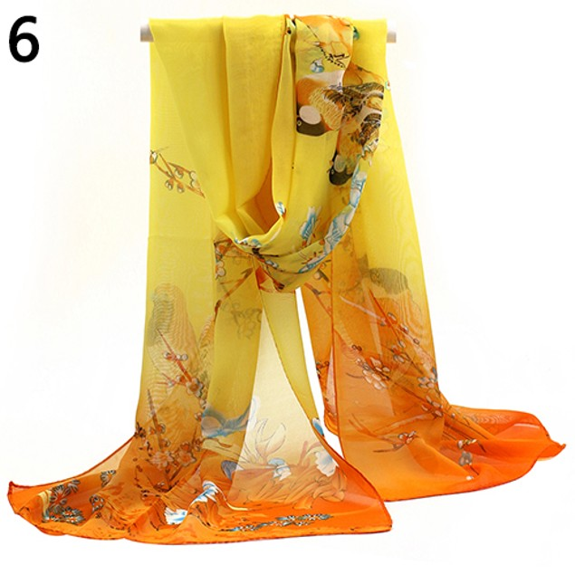 Womens Medium Long Chiffon Scrawl Flower Printed Scarf