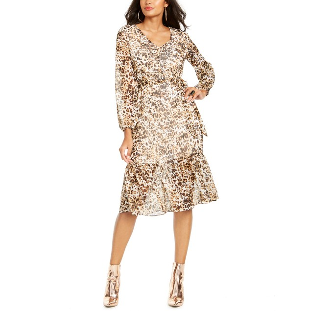 Thalia Sodi Women's Animal-Print Peasant Dress Beige Size Extra Large