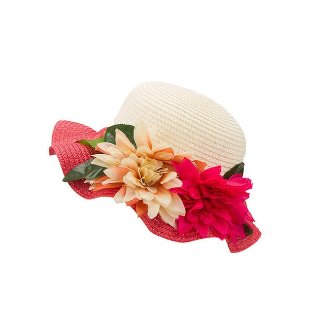 Children Flower Hit Color Large Eaves Straw Beach Cap Straw Hat l