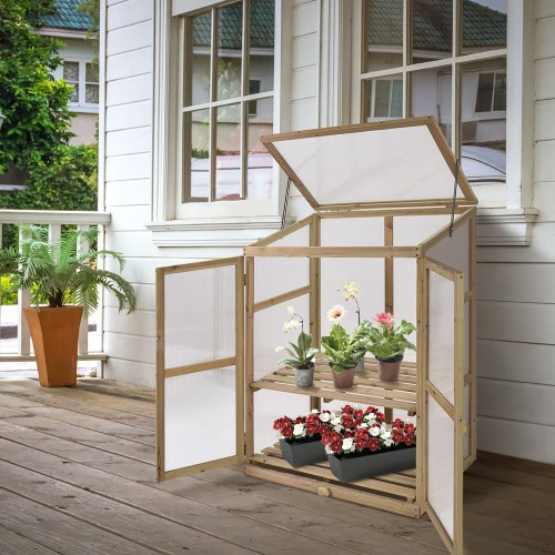 Costway Garden Portable Wooden GreenHouse Cold Frame Raised Plants Shelves