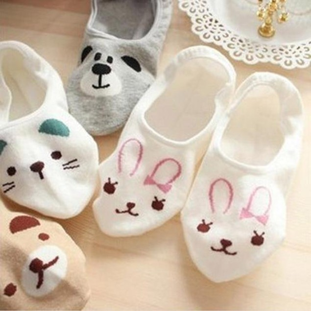 Women Invisible Cotton Socks Nonslip Loafer Low Cut Cartoon Animal Fashion