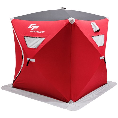 Goplus Portable Pop-up 2-person Ice Shelter Fishing Tent Shanty w/ Bag Ice