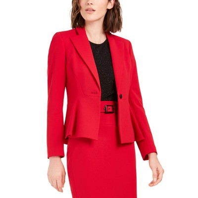 Bar III Women's Crepe Peplum Blazer Red Size 2