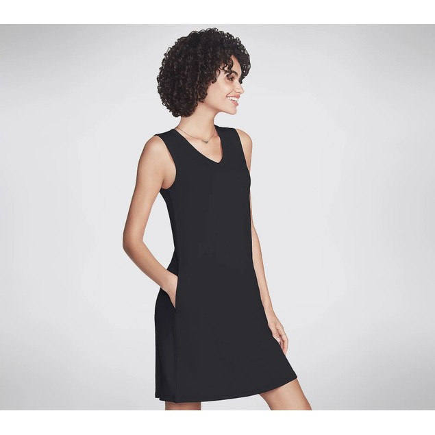 Skechers Apparel Skech Luxe Day Off Sleeveless V-Neck Dress, Large, Black
