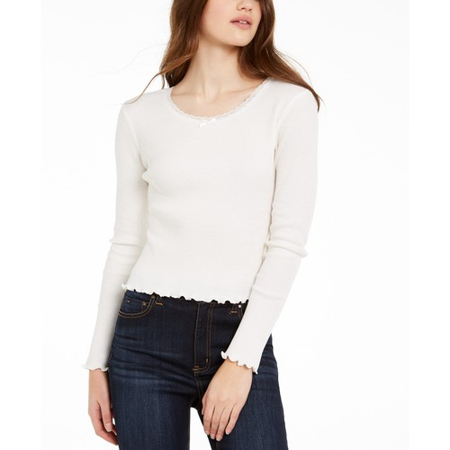 Polly & Esther Juniors' Cropped Thermal T-Shirt white Size Extra Small