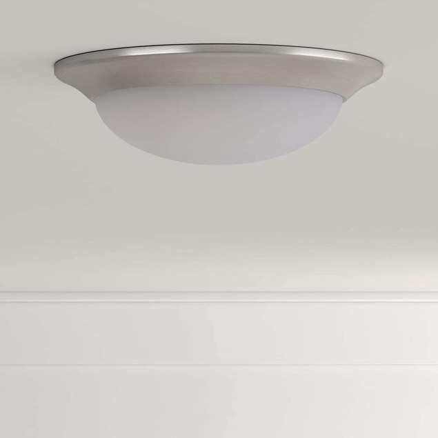 """Commercial Electric 11"""" 120 Watt Brushed Nickel LED Flush Mount Dimmable"""
