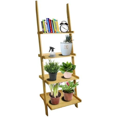 BIGTREE 4-Tier Ladder Bookshelf, Storage Rack Shelves Kitchen, Rustic DIY Stylish Organizer Bookcase Plant Holder Bathroom Office Shelf