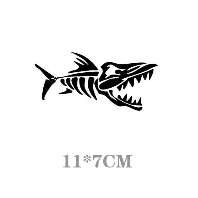 11*7CM Car Stickers Truck Window Cartoon FISH BONES Decal Black