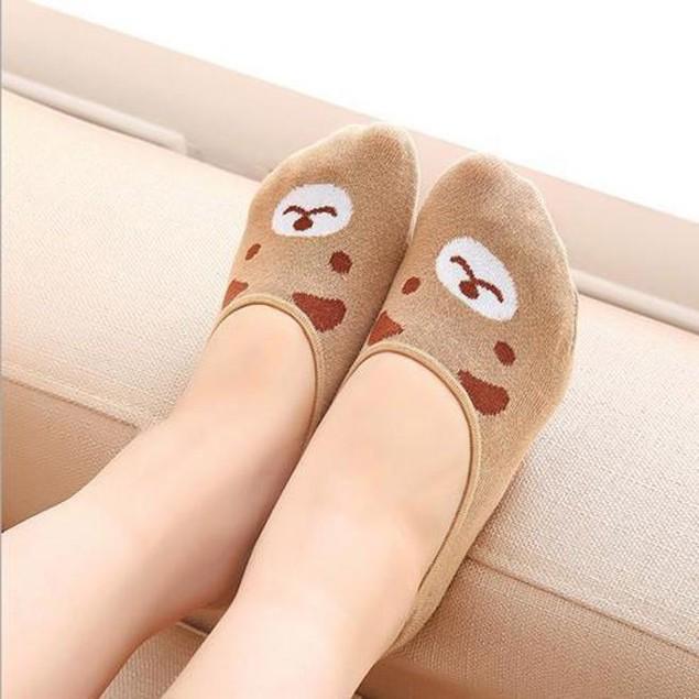Women Invisible Cotton Socks Nonslip Loafer Low Cut Cartoon Animal Fashion