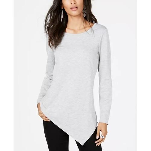 INC International Concepts Women's Hem Tunic Sweatshirt Grey Size Medium