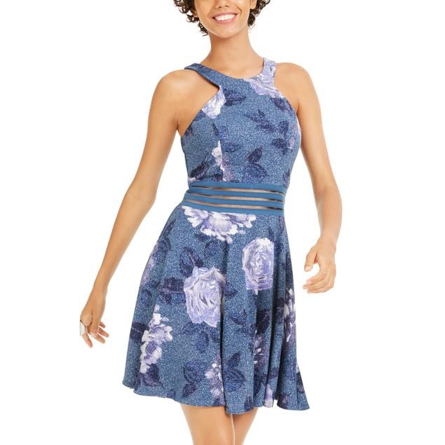 City Studios Juniors' Glitter Floral-Print Skater Dress Blue Size 5