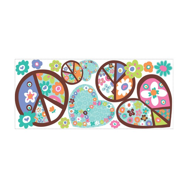 Roommates Baby Room Wall Decor Hearts and Peace Signs Giant Wall Decals