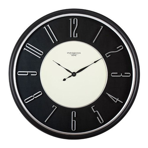 """Offex Home 29"""" Modern Raised Numeral Wall Clock - Black"""