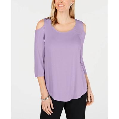 JM Collection Women's Cold Shoulder Top Purple Size Medium
