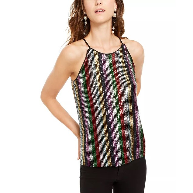 INC International Concepts Women's Sequinned Striped Top Black Size Small