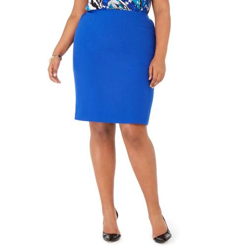 Kasper Women's Plus Pencil Skirt Dark Blue Size Petite Small