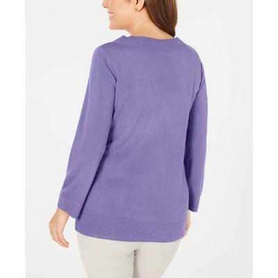Karen Scott Women's Bateau-Neck Long-Sleeve Sweater Purple Size Large