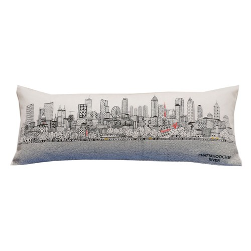 Spura Home Atlanta Skyline Embroidered Queen Size Pillow Day/Night Cushion