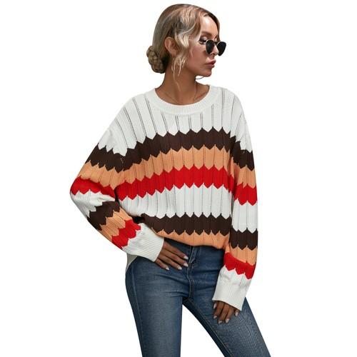 Women's Wave Pattern Color Block Sweater