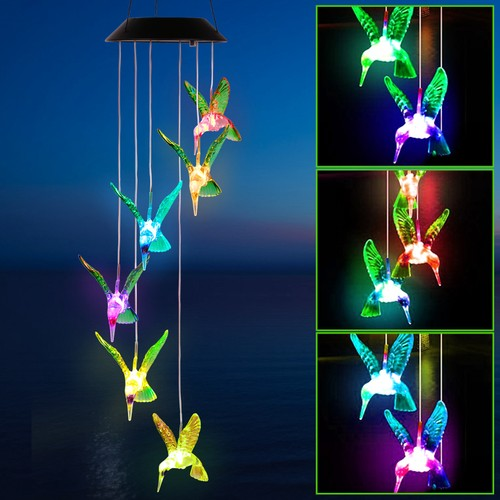 Color Changing LED Solar Hummingbird Wind Chime Solar String Lights