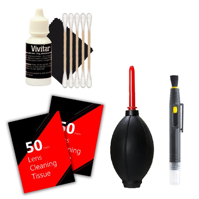 100 Lens Tissue Sheet + Dust Blower + Lens Cleaner + 3pc Cleaning Kit