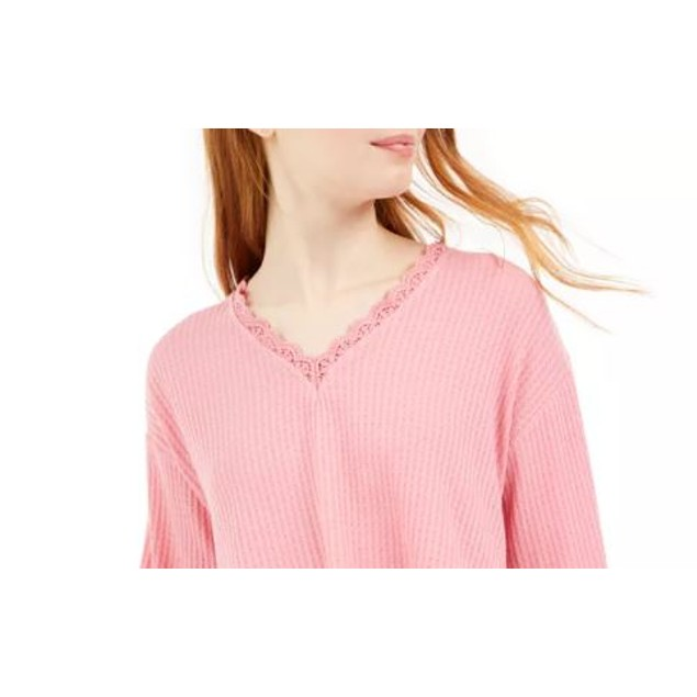Love Fire By Topson Junior's Lace Trim Thermal Top Pink Size X-Small